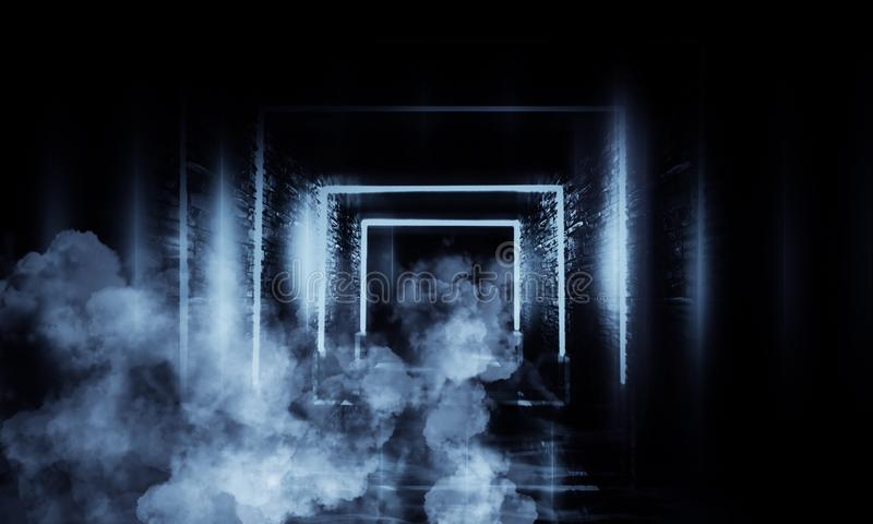 Абстрактный пустой, старый тоннель, коридор, свод, темная комната, неоновое освещение, густой дым, смог иллюстрация штока