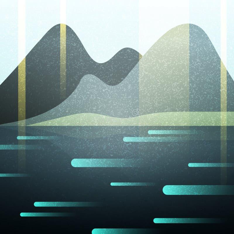Абстрактный ретро ландшафт с текстурой Озеро и горы бесплатная иллюстрация