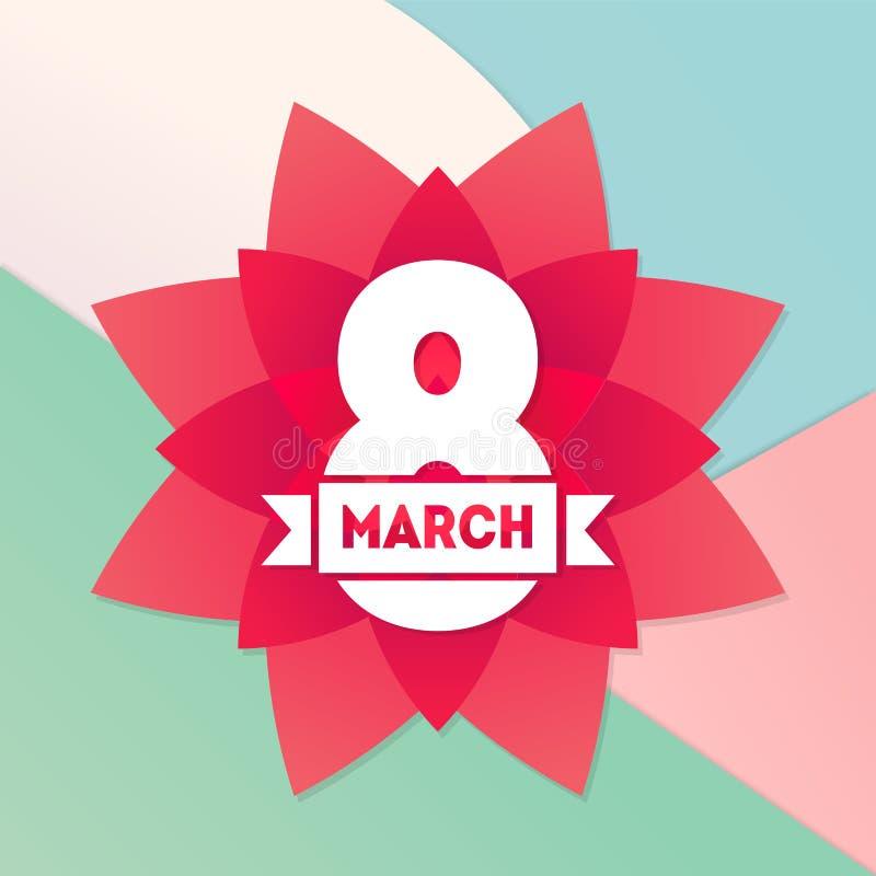 Абстрактный ретро плакат вектора 8-ое марта поздравительной открытки Счастливое Inte иллюстрация штока