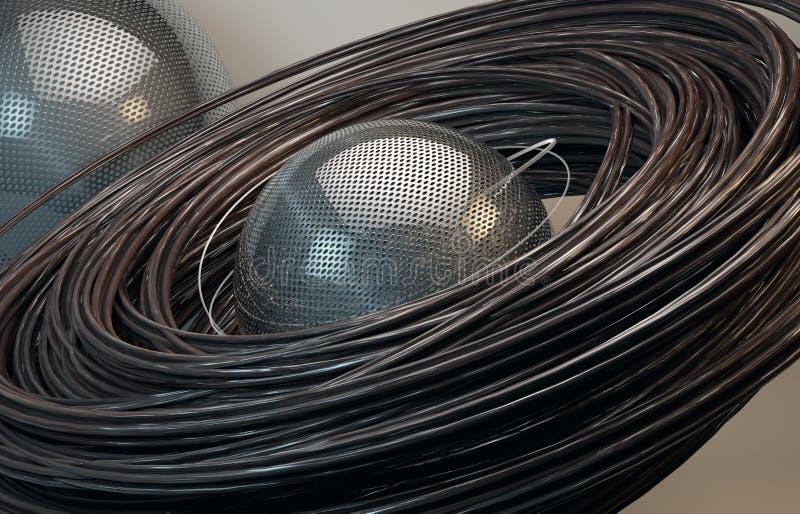 абстрактный ржавый состав провода 3d иллюстрация вектора