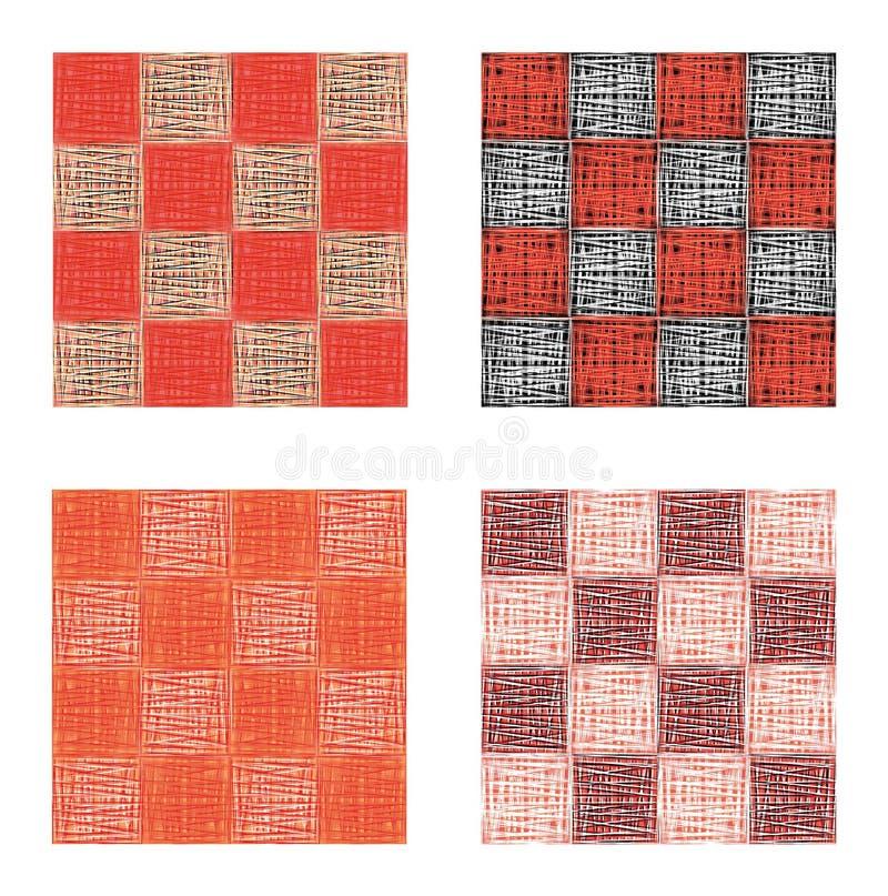 Абстрактный розовый красный геометрический безшовный комплект картины Квадраты, нашивки, линии Современный grunge, предпосылка те иллюстрация штока