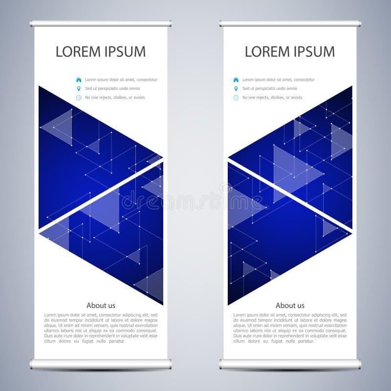 Абстрактный сверните вверх знамя для представления и издания Шаблоны науки, технологии и дела Треугольники и иллюстрация штока