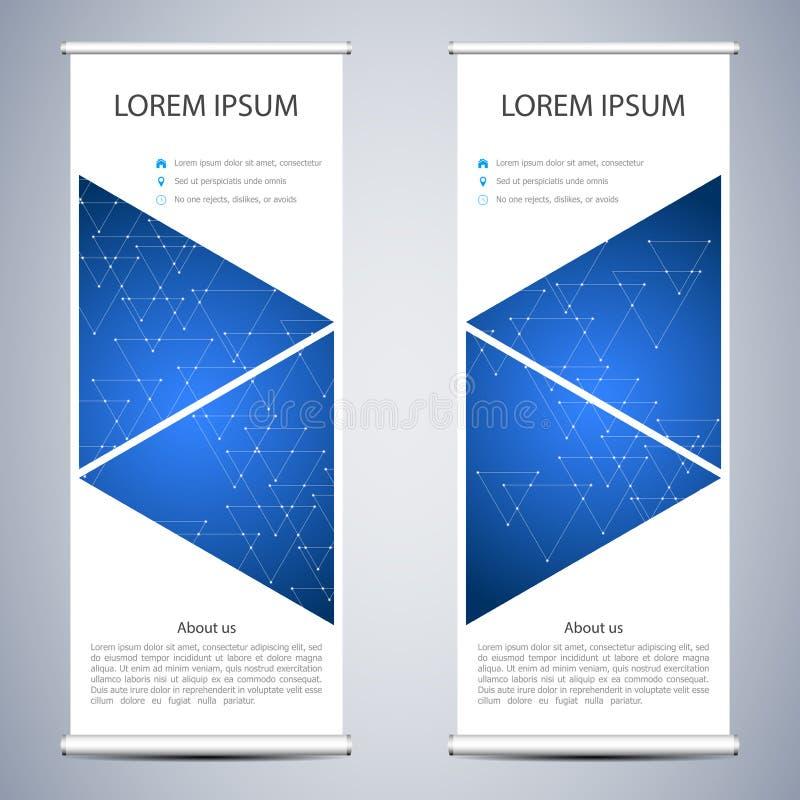 Абстрактный сверните вверх знамя для представления и издания Шаблоны науки, технологии и дела Квадратное линейное иллюстрация штока