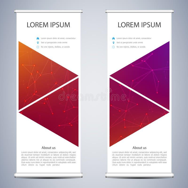 Абстрактный сверните вверх знамя для представления и издания Шаблоны науки, технологии и дела Квадратное линейное бесплатная иллюстрация