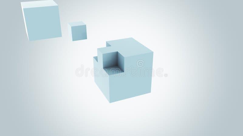 Абстрактный свет - голубой куб собирая Отсутствующие концепции части или добавления, предпосылка перевод 3d стоковые изображения