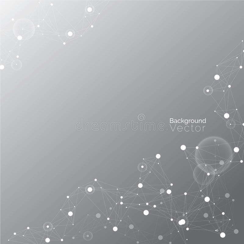 Абстрактный свет градиента - серая предпосылка с молекулярной картиной бесплатная иллюстрация