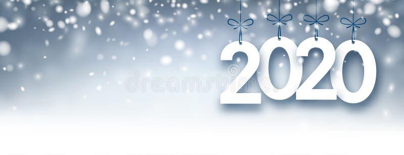 Абстрактный серебр знамя 2020 Новых Годов с снегом бесплатная иллюстрация