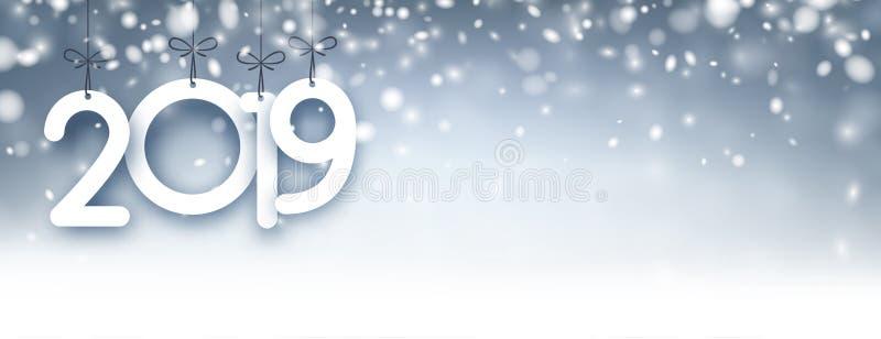Абстрактный серебр знамя 2019 Новых Годов с снегом бесплатная иллюстрация