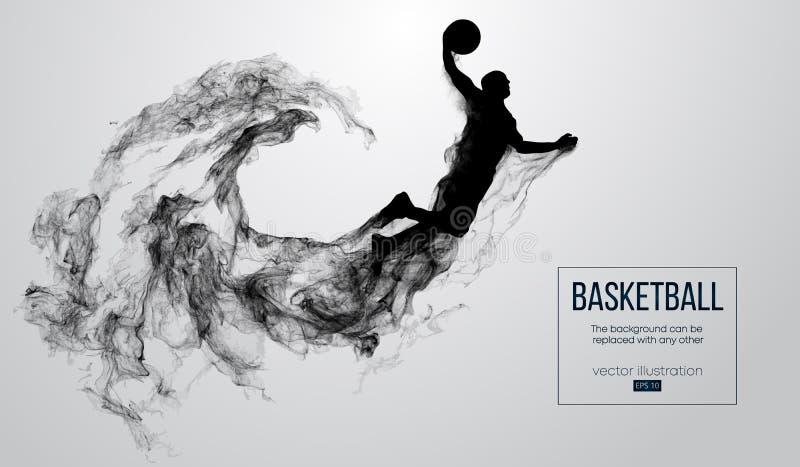 Абстрактный силуэт баскетболиста на белой предпосылке Баскетболист скача и выполняет верный успех бесплатная иллюстрация
