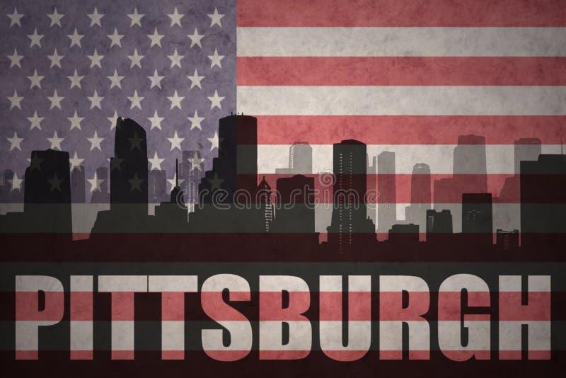 Абстрактный силуэт города с текстом Питтсбургом на винтажном американском флаге иллюстрация вектора