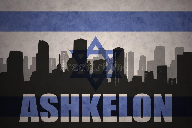 Абстрактный силуэт города с текстом Ashkelon на винтажном флаге Израиля иллюстрация вектора