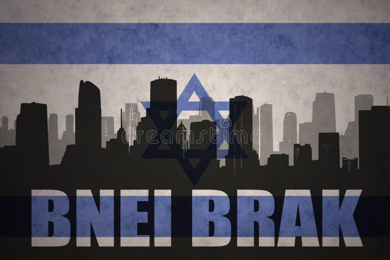 Абстрактный силуэт города с текстом Bnei Brak на винтажном флаге Израиля бесплатная иллюстрация