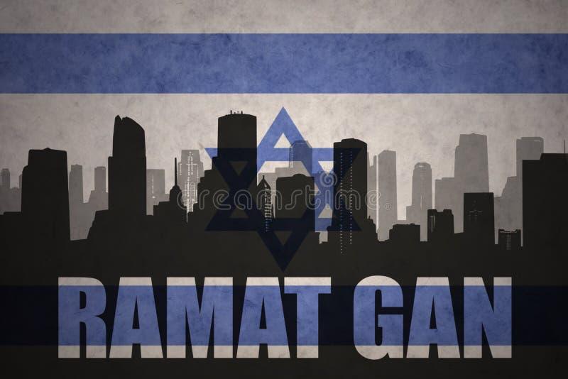 Абстрактный силуэт города с текстом Ramat Gan на винтажном флаге Израиля иллюстрация вектора