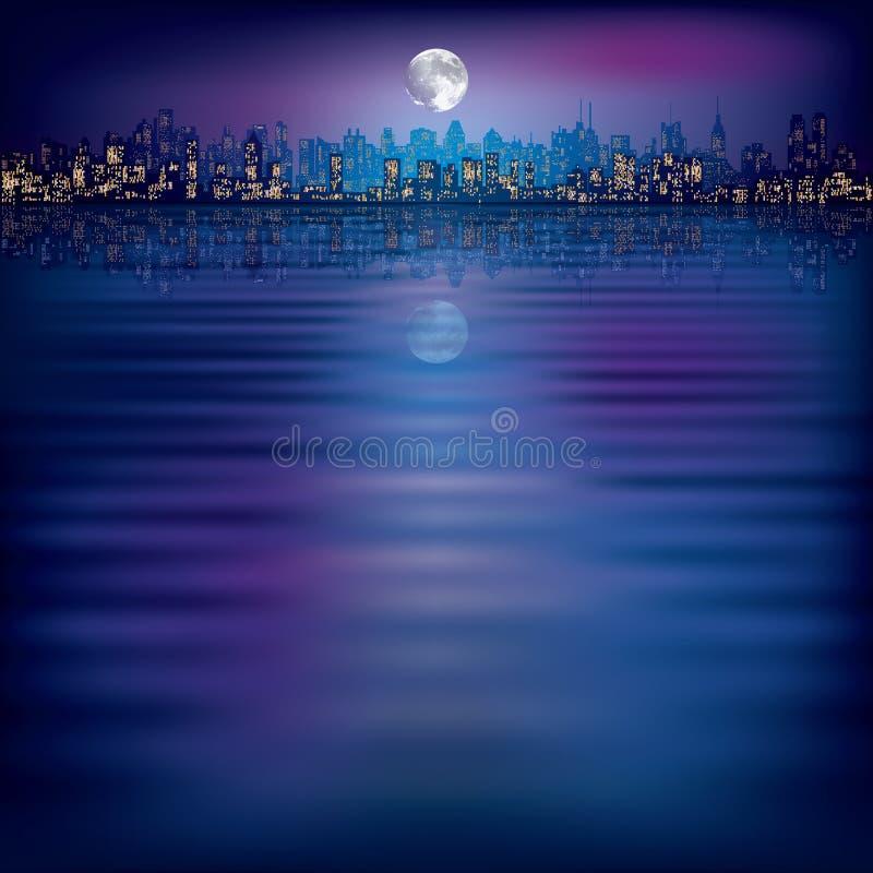 абстрактный силуэт ночи города предпосылки иллюстрация штока