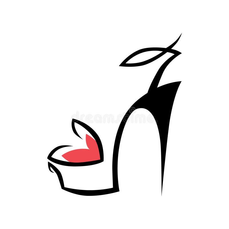 Абстрактный символ ботинка высокой пятки, значок на белизне иллюстрация вектора