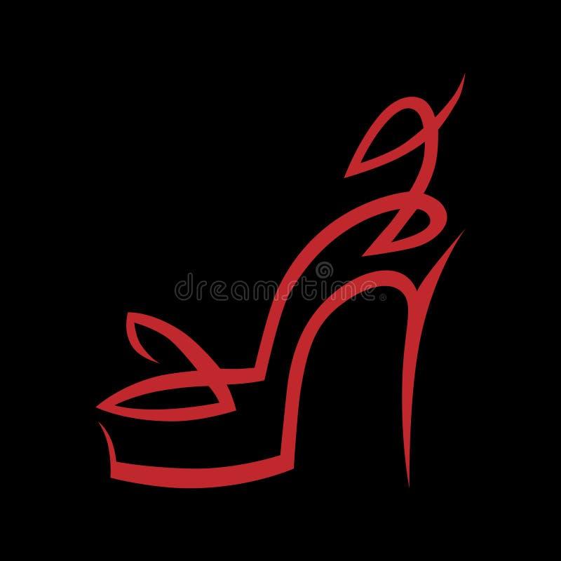Абстрактный символ ботинка высокой пятки, значок на черноте иллюстрация вектора