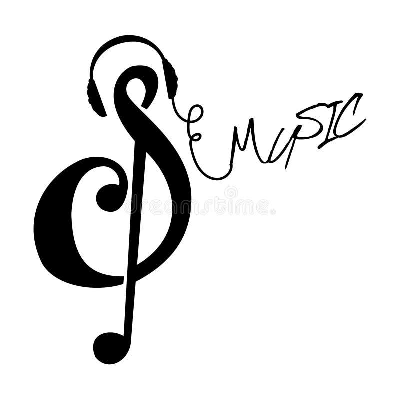 Абстрактный символ музыки также вектор иллюстрации притяжки corel стоковые изображения rf