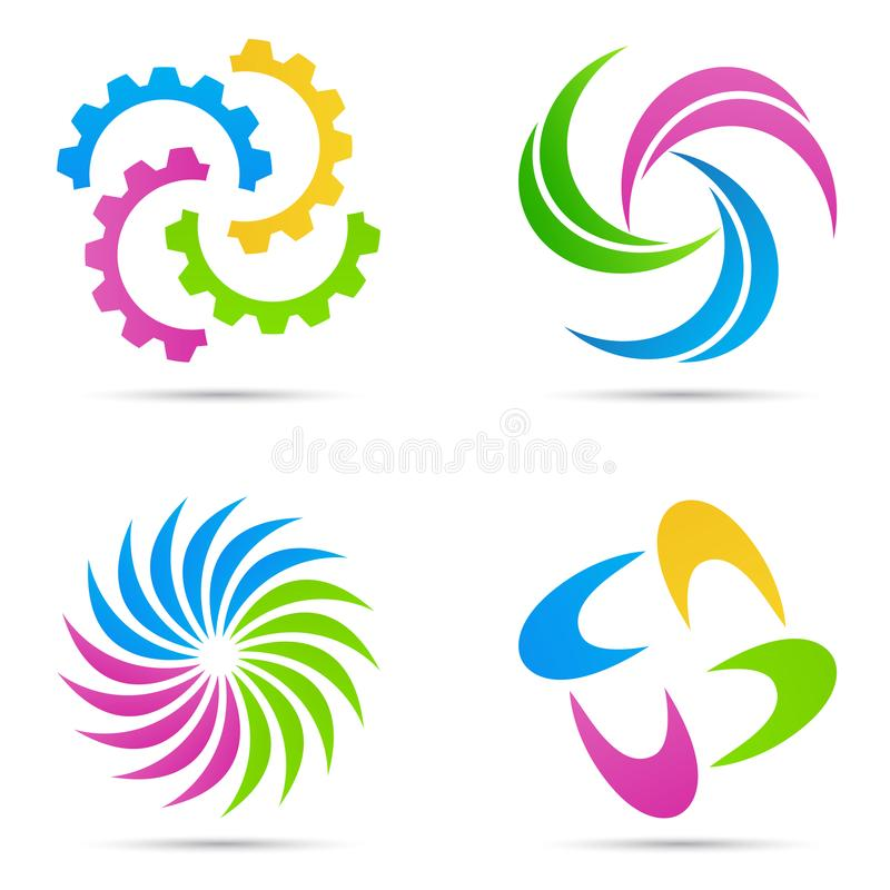 Абстрактный символ эмблемы сыгранности элементов логотипа компании бесплатная иллюстрация
