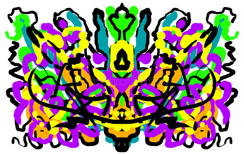 Абстрактный симметричный крася inkblot испытания Rorschach иллюстрация штока