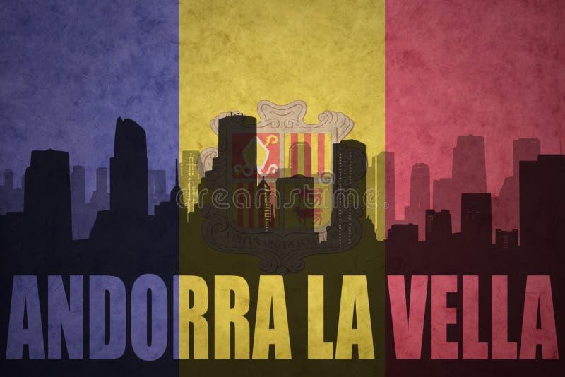 Абстрактный силуэт города с Ла Vella Андорры текста на винтажном andorran флаге стоковая фотография