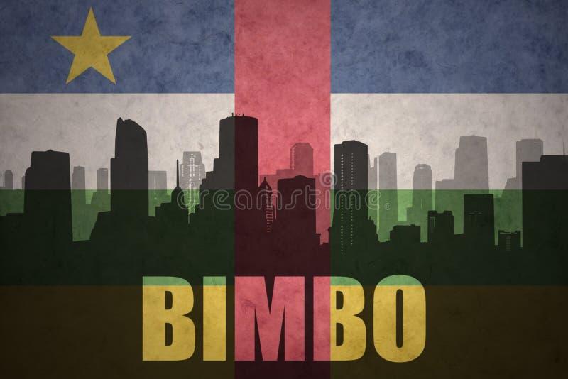 Абстрактный силуэт города с Bimbo текста на винтажном флаге Центральноафриканской Республики иллюстрация вектора