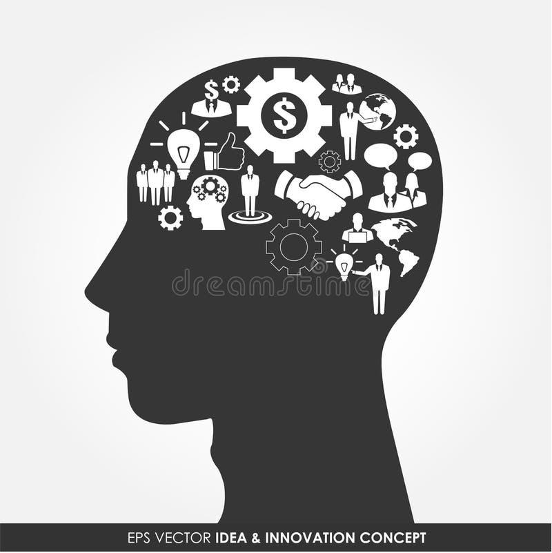Абстрактный силуэт человеческой головы иллюстрация вектора