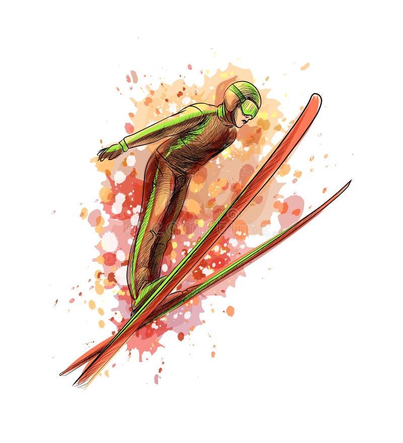 Абстрактный скача лыжник от выплеска акварели иллюстрация вектора