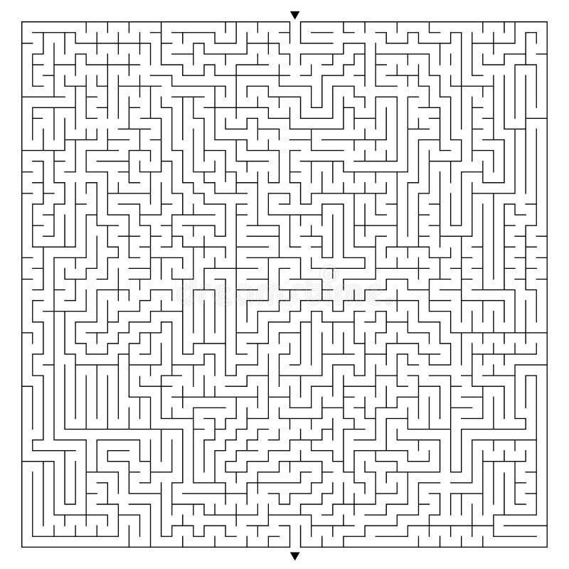Абстрактный сложный квадратный лабиринт с входом и выходом Интересная игра для детей и взрослых Загадочная головоломка Illu векто иллюстрация штока