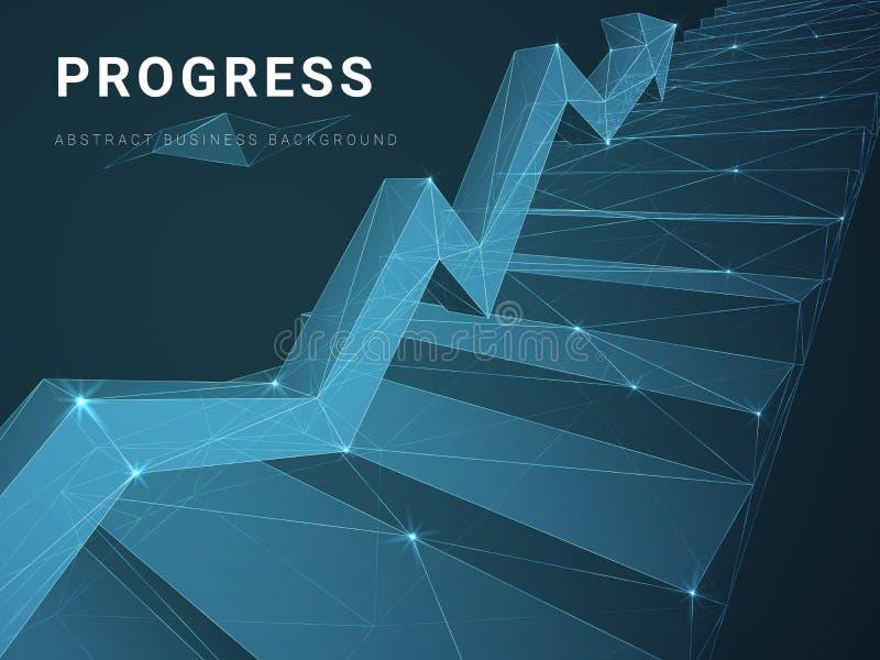 Абстрактный современный вектор предпосылки дела показывая прогресс с линиями в форме лестницы со стрелкой на голубой предпосылке иллюстрация штока