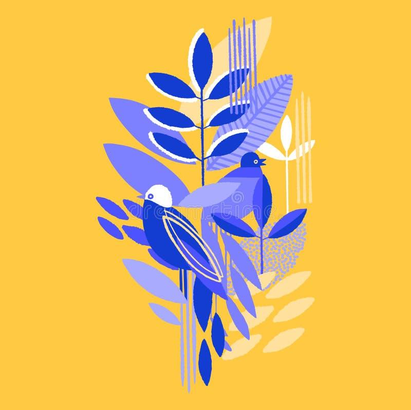 Абстрактный современный дизайн вектора minimalistic листьев и птиц в живых цветах иллюстрация вектора