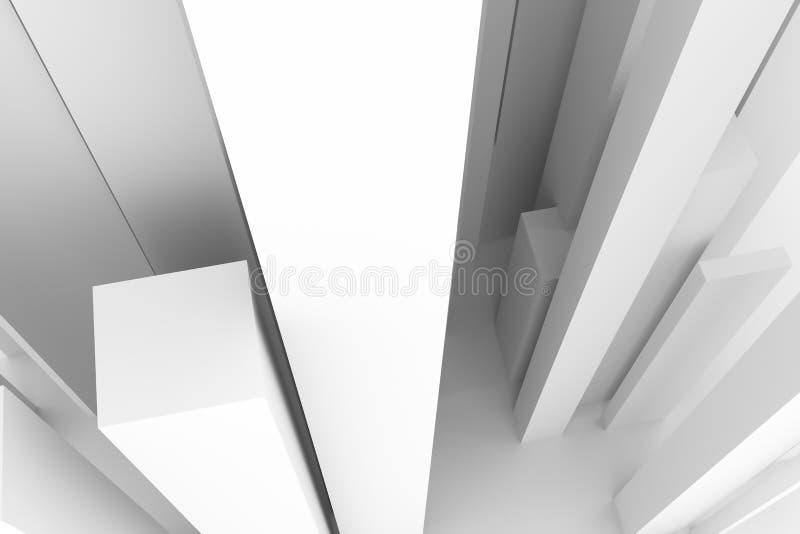 Абстрактный современный стиль штендера мягко белая & серая предпосылка Перспективы, дизайн, свет & нерезкость иллюстрация штока