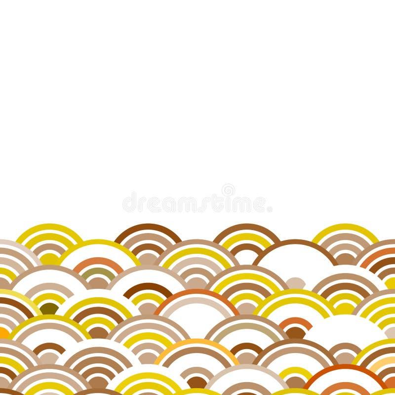Абстрактный состав круглых элементов масштабирует ocher Брауна простой картины круга волны природы азиатской бежевое на белом авт бесплатная иллюстрация