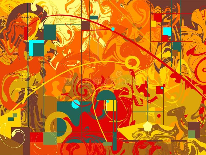 Абстрактный состав, представляет изогнутые и геометрические коричневые зеленые формы на красной оранжевой предпосылке иллюстрация штока