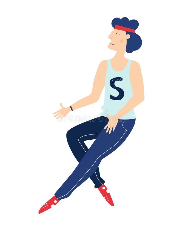 Абстрактный стилизованный характер спортсмена Человек в sweatpants и тапках Бег или скакать Мультфильм современного стиля плоский иллюстрация вектора