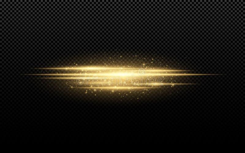 Абстрактный стильный световой эффект на прозрачной предпосылке Золотые накаляя неоновые линии в движении Золотая светящая пыль и  иллюстрация штока