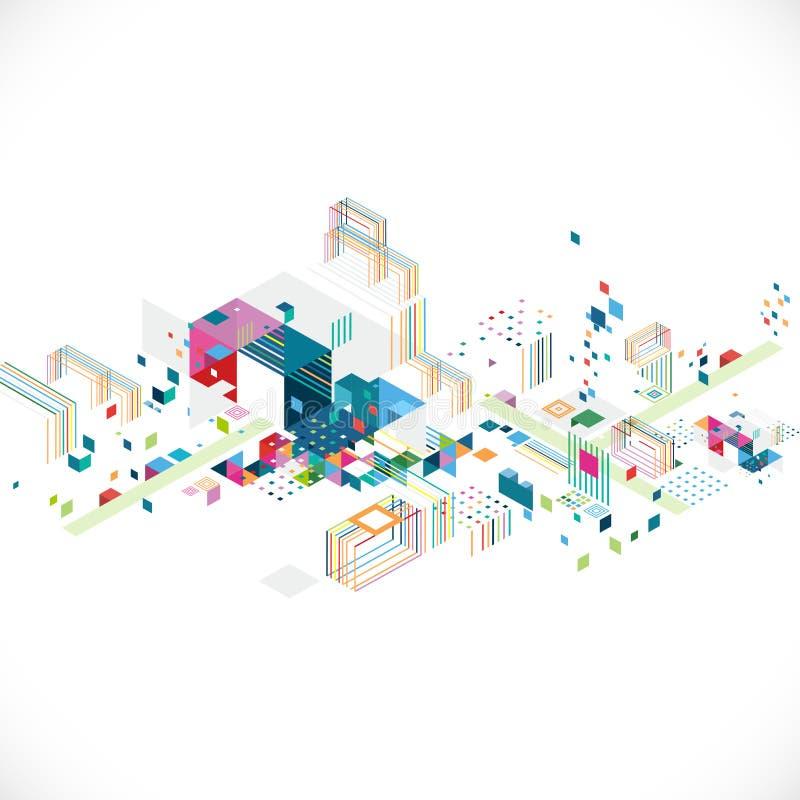 Абстрактный творческий геометрический архитектор и концепция города с красочными графиком и треугольником, линией, украшением цве иллюстрация штока