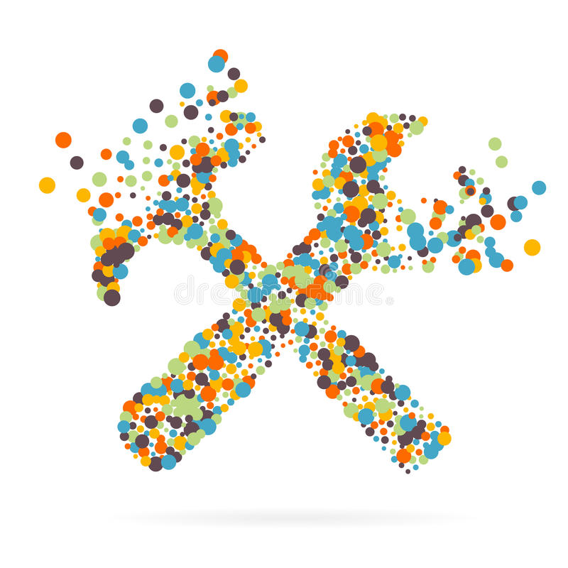 Абстрактный творческий значок вектора концепции инструментов для сети и передвижных применений изолированных на предпосылке Иллюс иллюстрация вектора