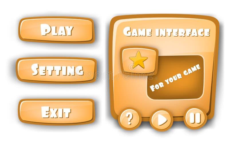 Абстрактный творческий игровой дизайн интерфейса вектора концепции, бар ресурса и значки ресурса для игр Смешной дизайн шаржа иллюстрация вектора