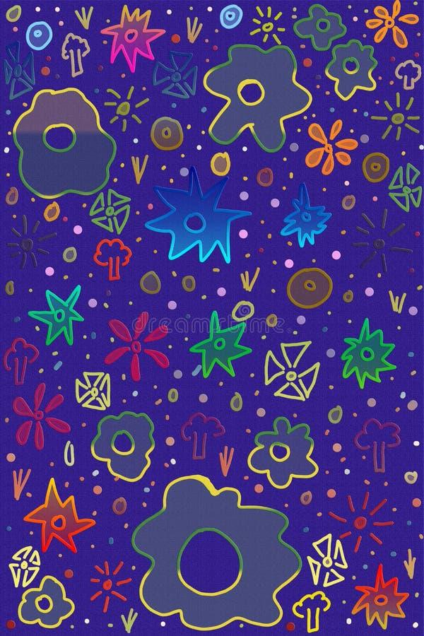 Абстрактный текстурированный чертеж с чертежами детей иллюстрация вектора