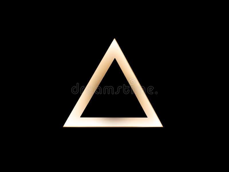 Абстрактный теплый шаблон логотипа треугольника золота на черноте Знак перепада иллюстрация штока