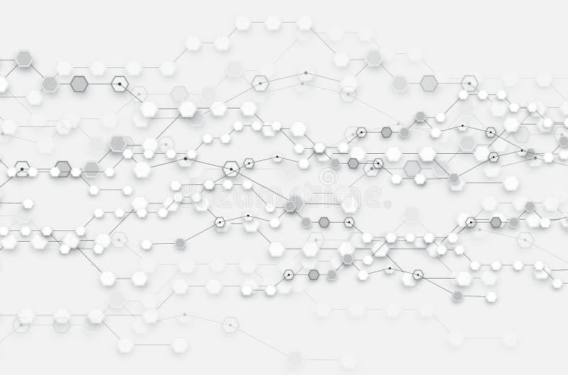 абстрактный техник предпосылки Футуристический интерфейс технологии иллюстрация вектора