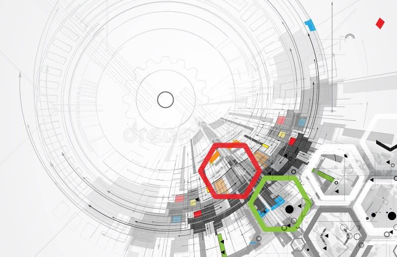 абстрактный техник предпосылки Футуристический интерфейс технологии вектор бесплатная иллюстрация