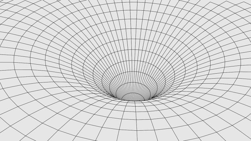 Абстрактный тоннель червоточина 3D со структурой сетки иллюстрация штока