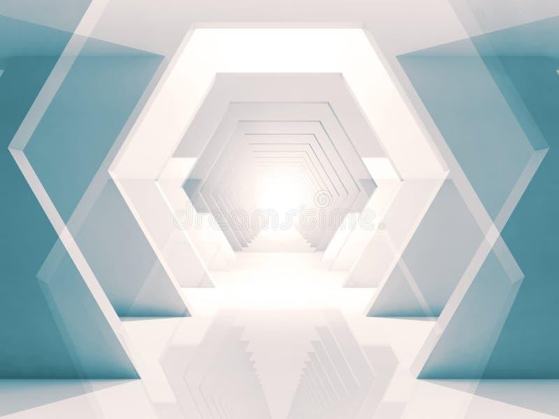 Абстрактный тоннель 3d шестиугольных элементов иллюстрация штока