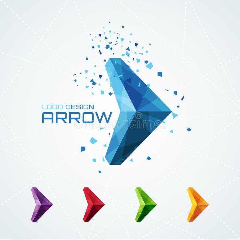 Абстрактный триангулярный логотип стрелки иллюстрация штока