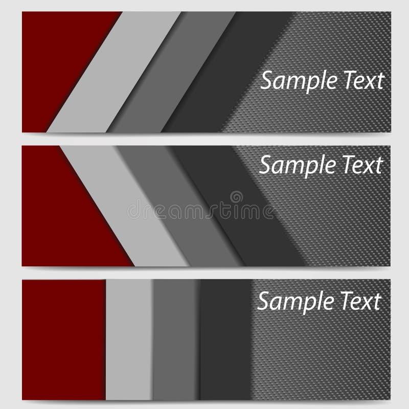 Абстрактный углерод волокна заголовка знамени в черной и красной иллюстрации вектора иллюстрация штока
