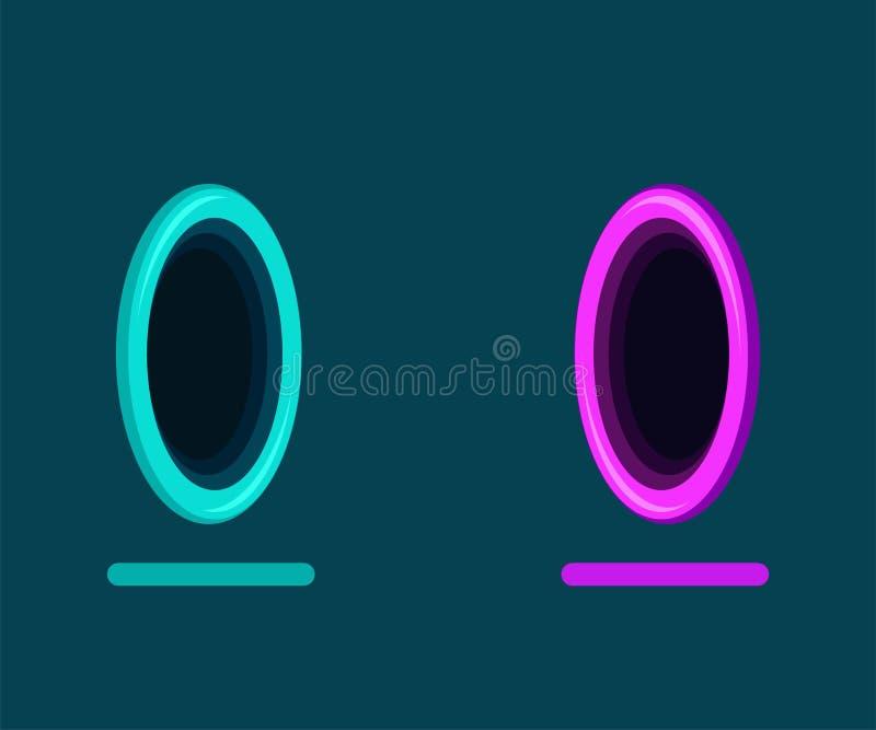 Абстрактный фантастический портал для телепортации на голубой предпосылке Плоские цвета бесплатная иллюстрация