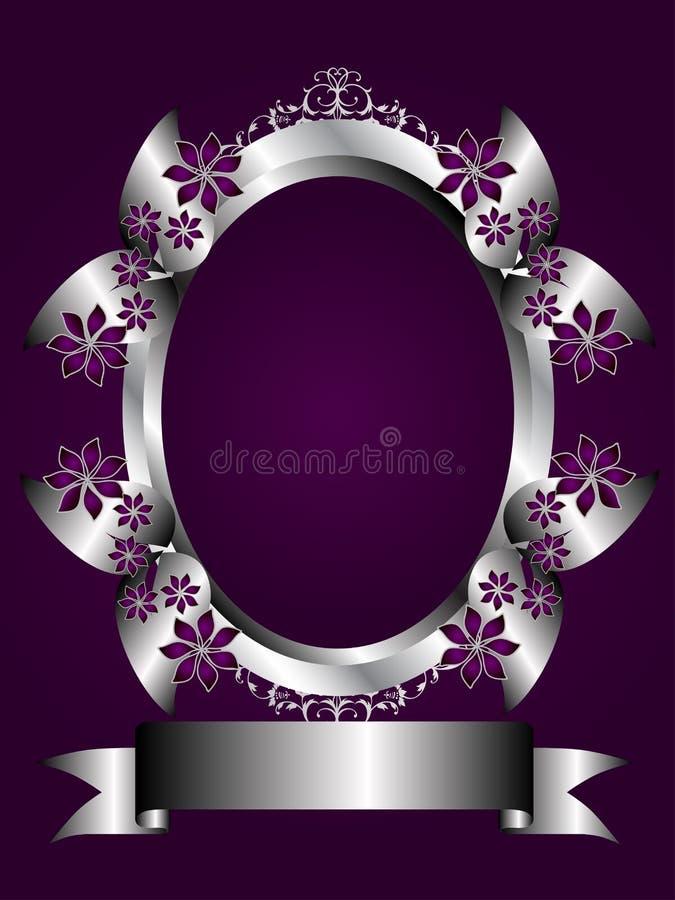 абстрактный флористический серебр пурпура рамки иллюстрация вектора