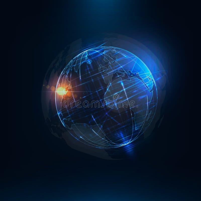 Абстрактный футуристический реалистический глобус Sci Fi земли на движении стоковая фотография