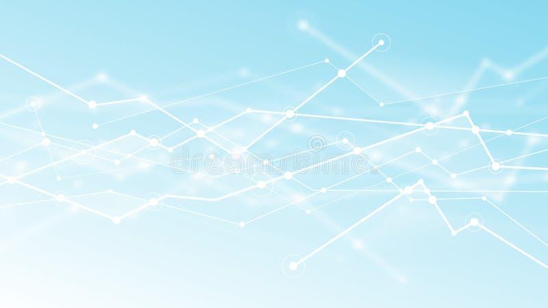 Абстрактный футуристический свет blockchain - голубая предпосылка Текстура концепции технологии сети дизайна вектора цифровая иллюстрация вектора